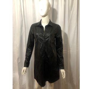 Lucca Couture Black Leather Collared Mini Dress
